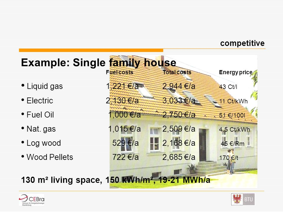 Example: Single family house Fuel costs Total costs Energy price