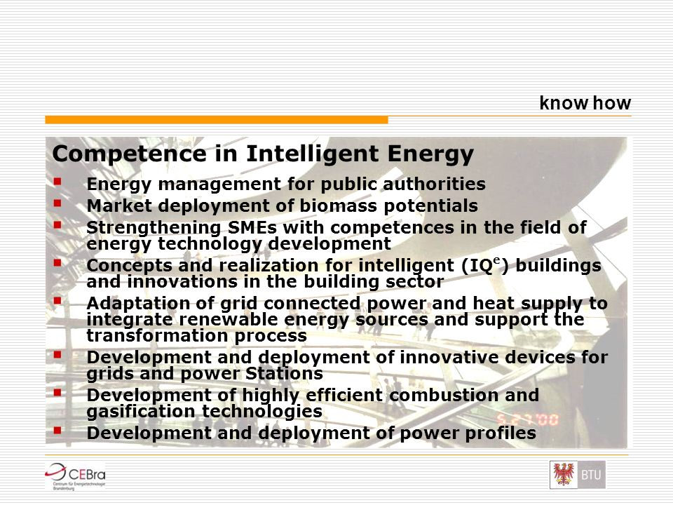 Competence in Intelligent Energy
