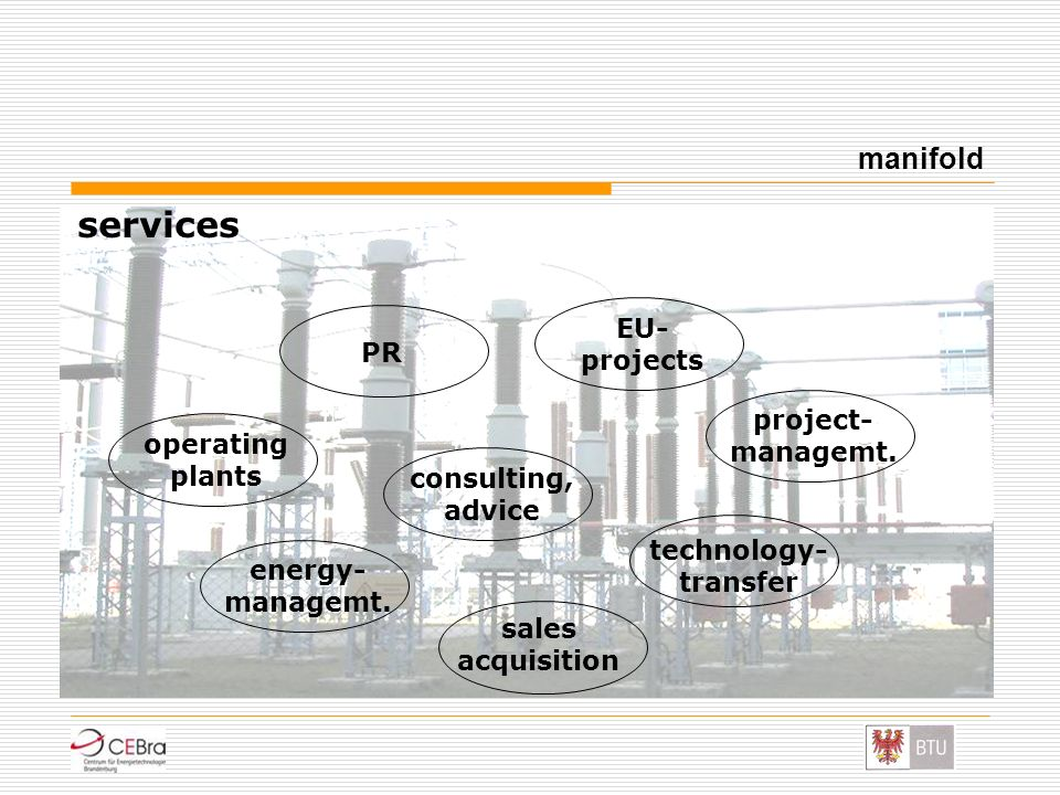 services manifold EU- projects PR project- managemt. operating plants