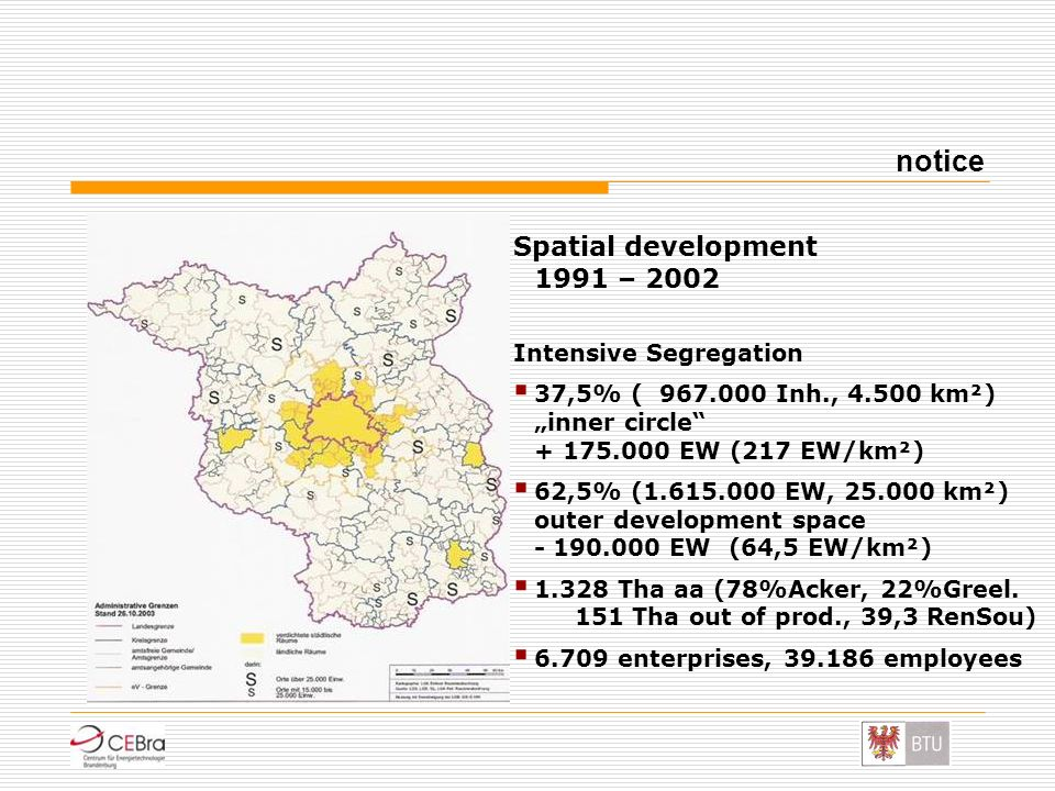 notice Spatial development 1991 – 2002 Intensive Segregation
