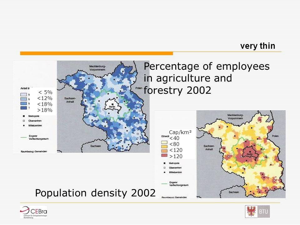 Percentage of employees in agriculture and forestry 2002