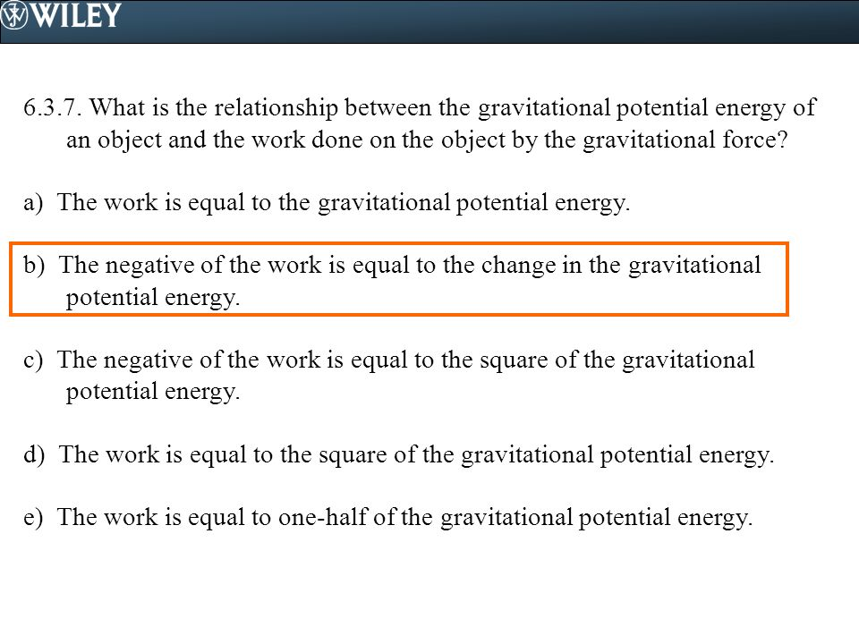 what is the relationship of potential energy to work
