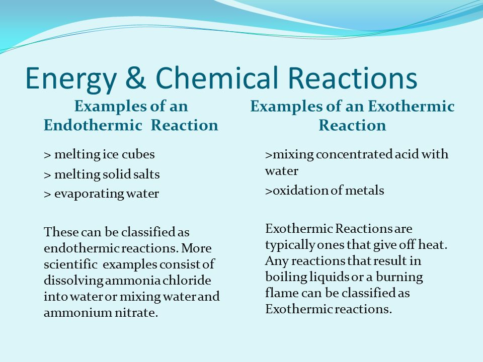 """endothermic reaction essay Adapted from endothermic and exothermic reactions by melissa imler dry it with a paper define the term """"endothermic"""" reaction."""