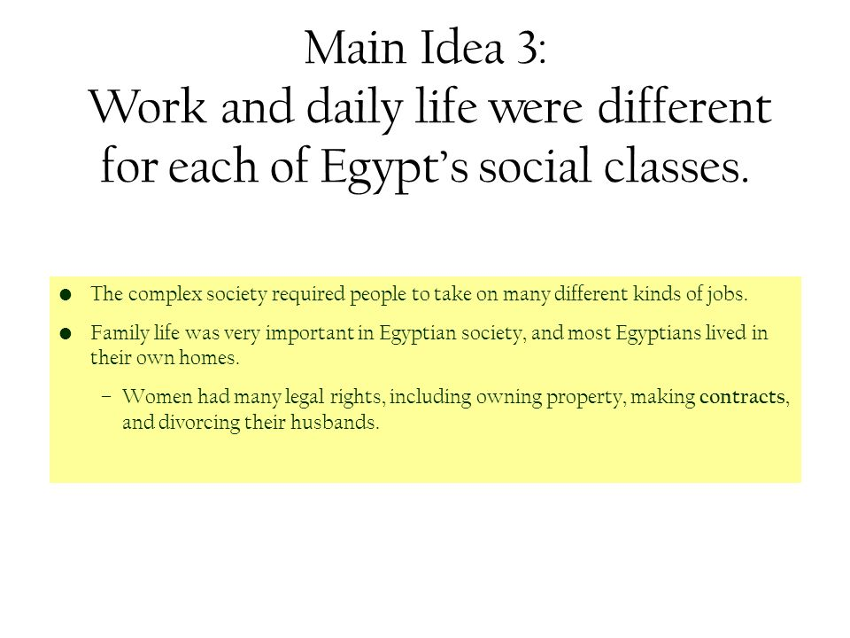 the two main aspects of egyptian life Describe two (2) aspects of egyptian and make a comparison to specific aspects of modern urban lifedescribe the main humanities discussion questions.