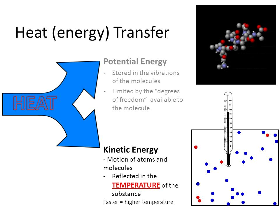 heat and energy transfer Conduction is the transfer of thermal energy, or heat, between substances because of their temperature differences thermal energy is transferred from an area of higher temperature to one that is lower.