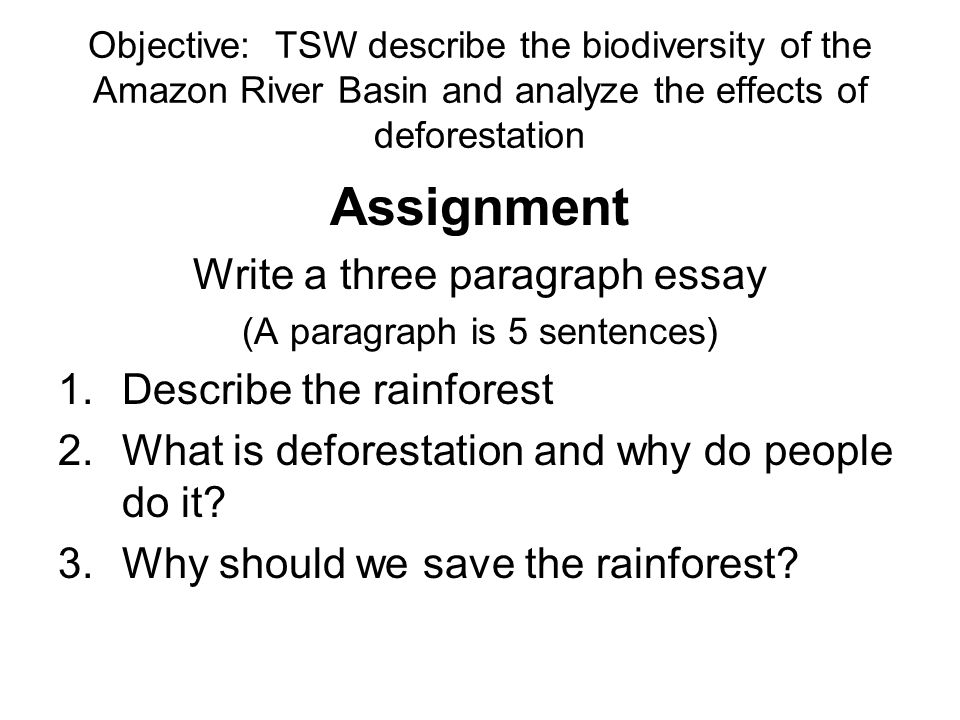 objective tsw describe the biodiversity of the amazon river basin assignment write a three paragraph essay describe the rainforest