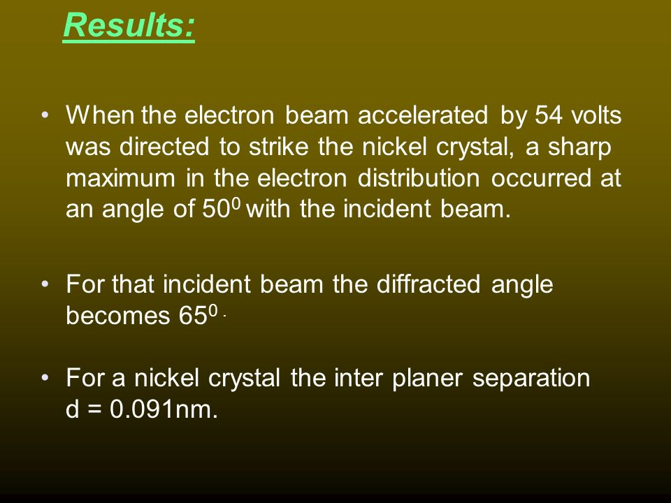 Davison and germer experiment
