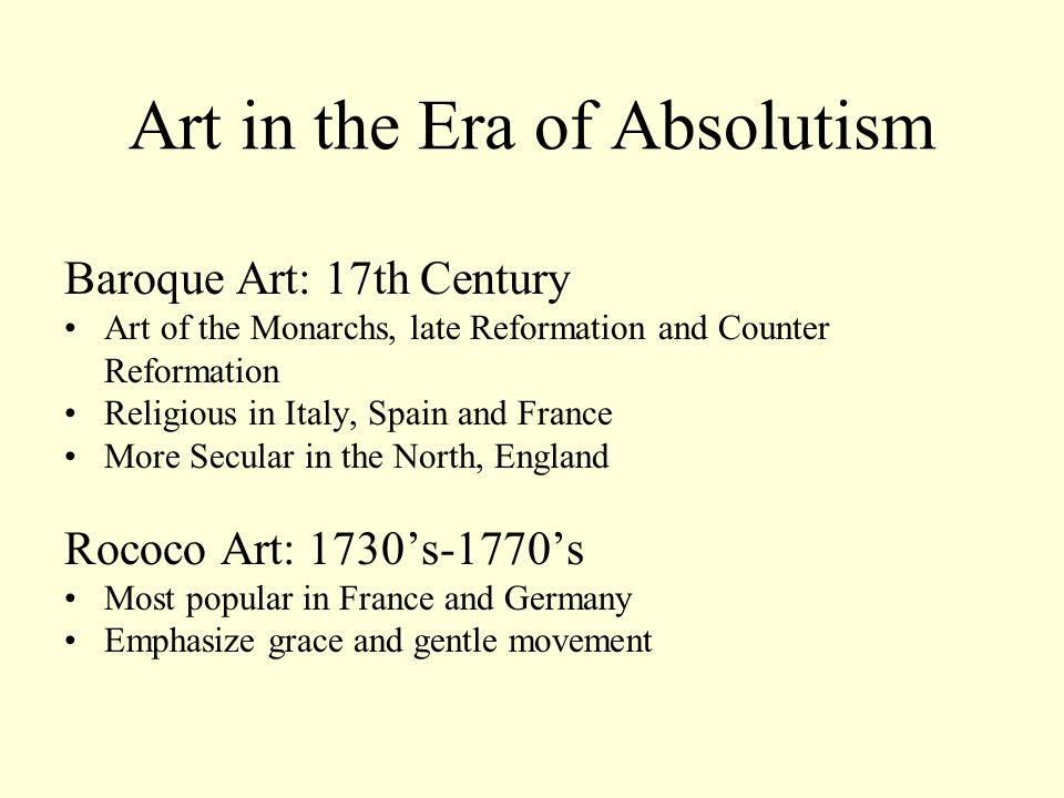 Absolutism and Baroque Art in 17th Century