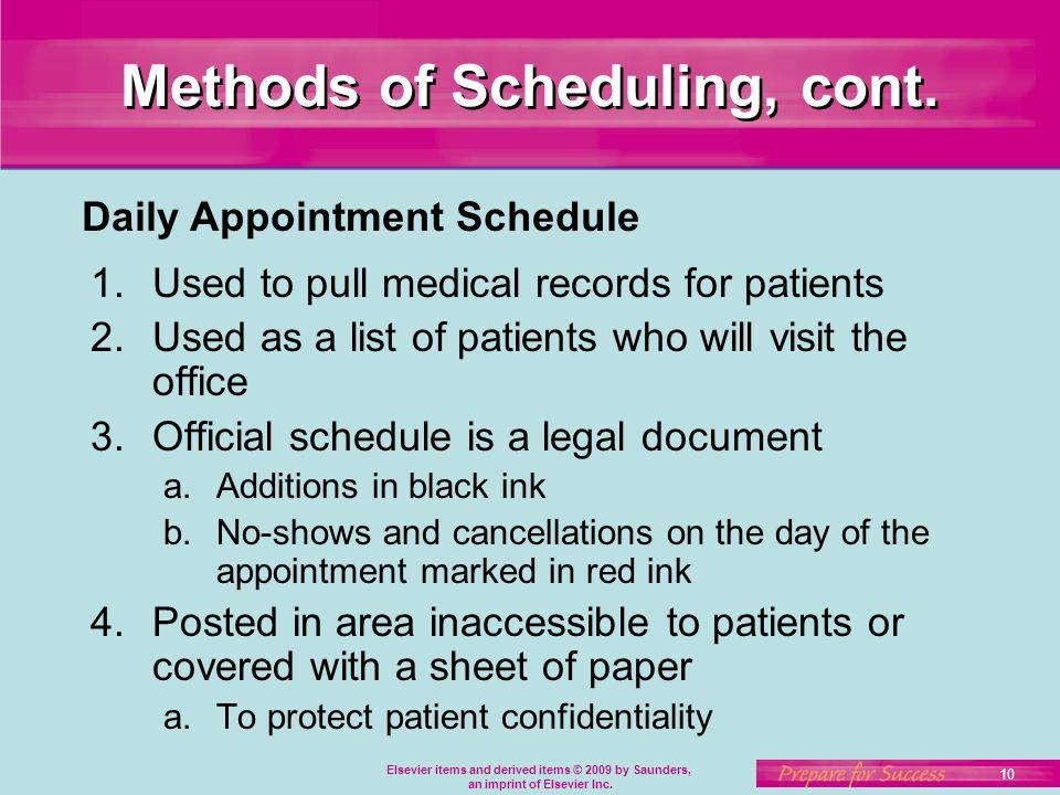 scheduling document