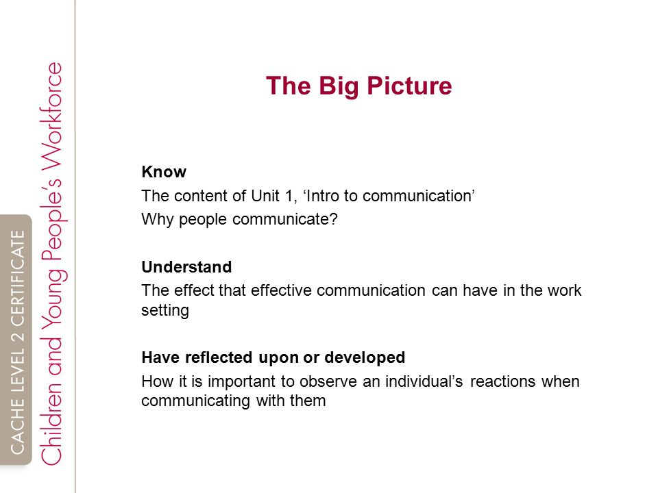 explain why it is important to observe an individual s reactions when communicating with them Understand why communication is important in the work setting  explain why it is important to observe an individual's reactions when communicating with them.