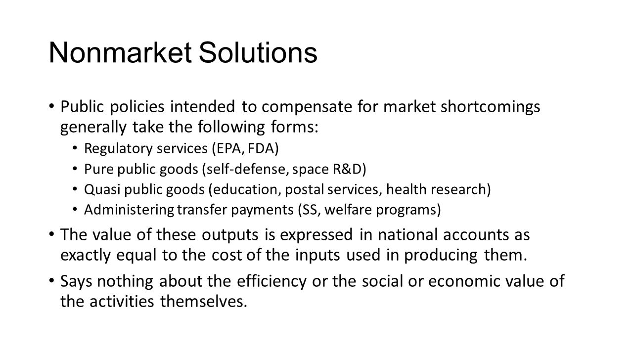 how government compensate for market failure Introducing market failure defining market failure government responses to market failure include legislation, direct provision of merit goods and public goods, taxation, subsidies in order to compensate for negative externalities.
