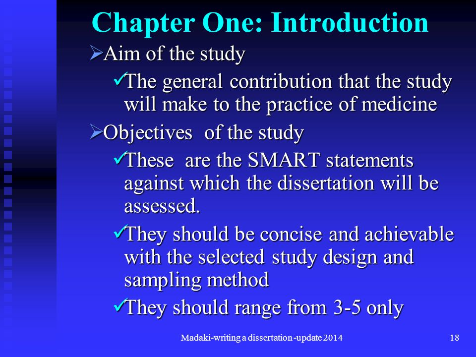 chapter one introduction dissertation The introduction chapter of your dissertation or thesis is the one in which you establish basic information and goals that the reader will need to understand.