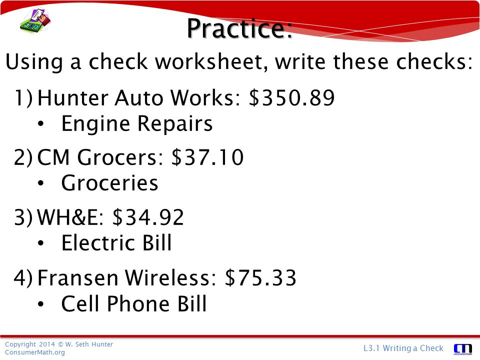 Personal Finance Writing A Check ppt download – Writing Checks Worksheet