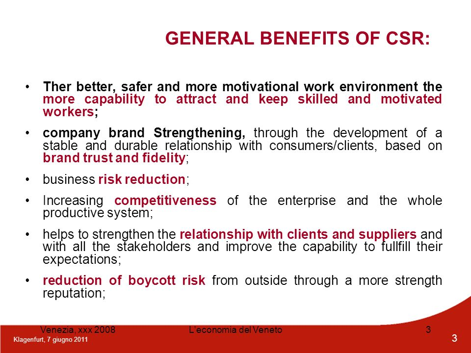 GENERAL BENEFITS OF CSR:
