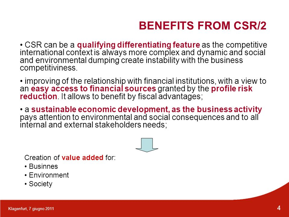 BENEFITS FROM CSR/2