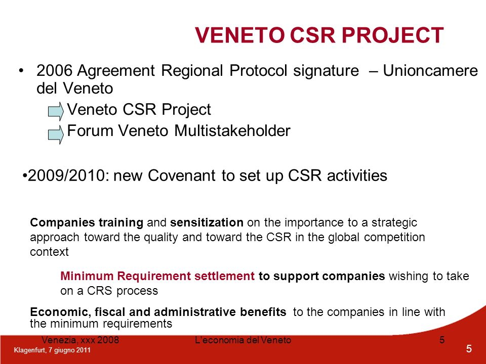 VENETO CSR PROJECT2006 Agreement Regional Protocol signature – Unioncamere del Veneto. Veneto CSR Project.
