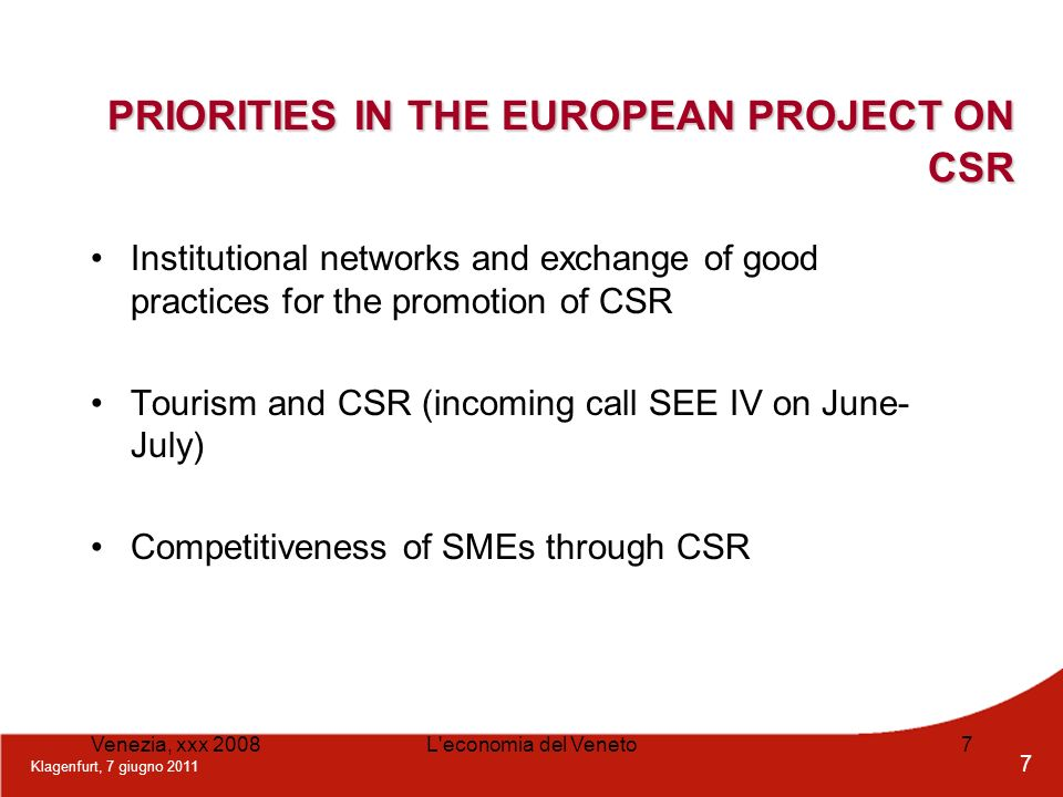 PRIORITIES IN THE EUROPEAN PROJECT ON CSR