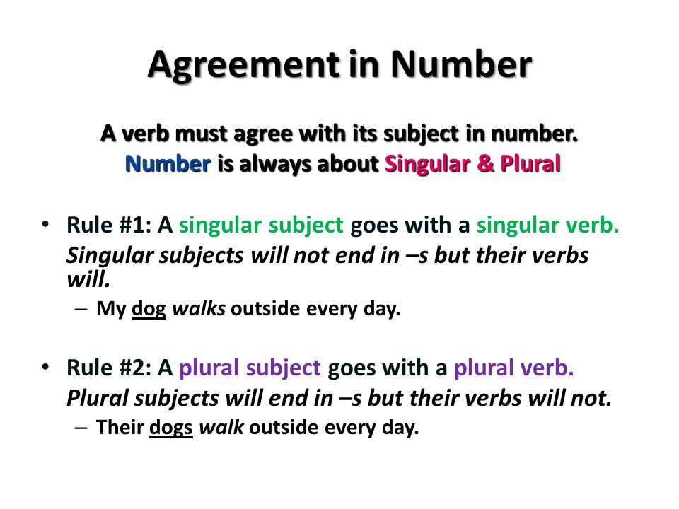Subject and verb agreement ppt video online download 2 agreement in number platinumwayz