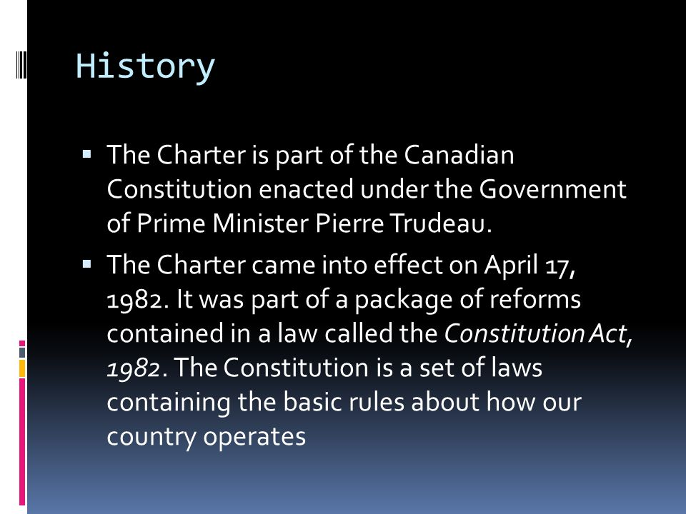 history of the canadian charter or History of how property rights came to be excluded has  canadian charter of  rights and freedoms, part i of the constitution act, 1982, being schedule b to.
