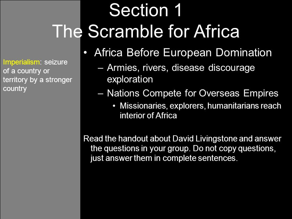the age of imperialism guided reading Chapter 11 section 1: imperialists divide africa (339-344) on your own piece of  paper, write the number, term, and definition for each nationalism imperialism.