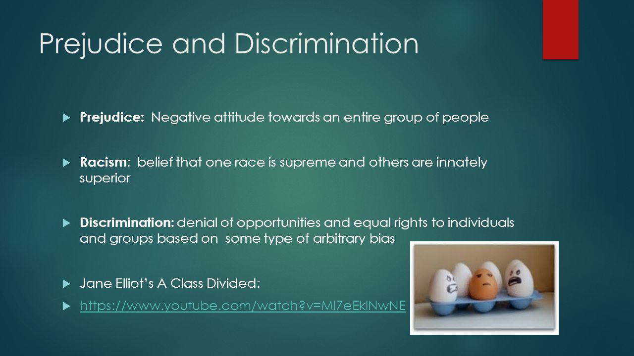 an introduction to the issue of prejudice and discrimination Prejudice, racial and sexual discrimination, coping with being the target of prejudice and discrimination, interracial interactions, and methods for reducing prejudice and discrimination required text and readings whitley, b e, jr, & kite, m e (2009) the psychology of prejudice and discrimination, 2/e belmont, ca: thomson/wadsworth.