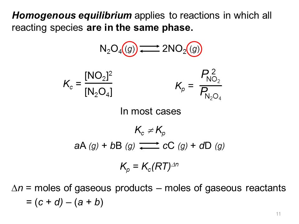 Homogenous equilibrium applies to reactions in which all reacting species are in the same phase.