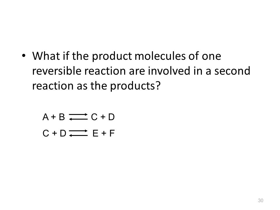 What if the product molecules of one reversible reaction are involved in a second reaction as the products