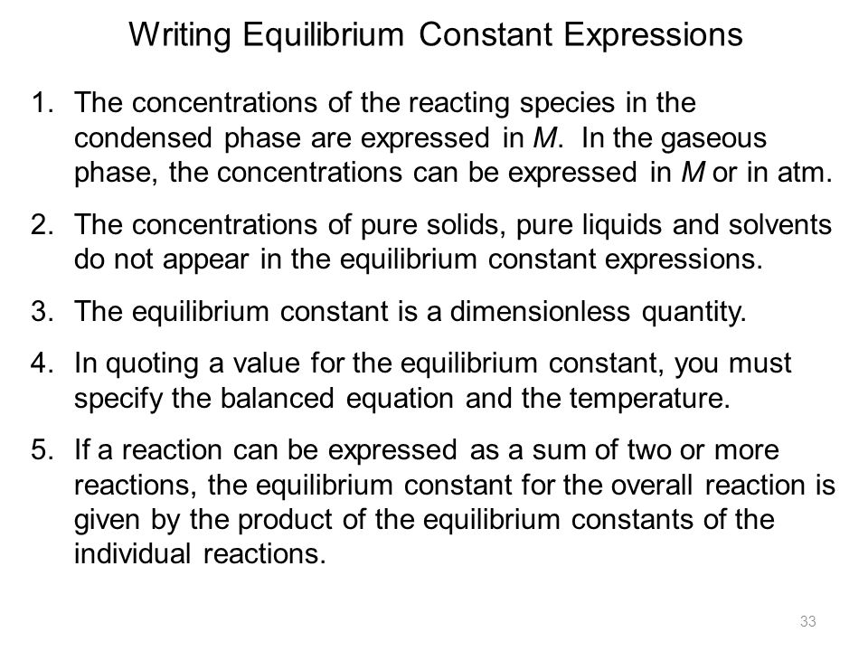 writing equilibrium expressions Chemical equilibrium writing equilibrium expressions techniques for solving equilibrium problems solving perfect squares.