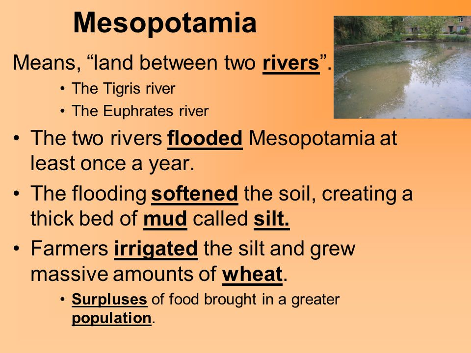 Mesopotamia Means, land between two rivers .