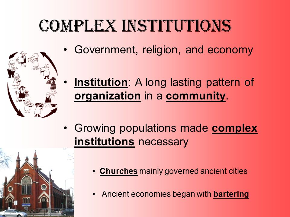 Complex Institutions Government, religion, and economy