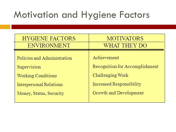 hygiene factors effect on motivation and 22 factors that can affect employee motivation & engagement written by: bill bastian ii the magic ingredient to a winning team is their commitment, motivation, and engagement to each other and the goals of the team.