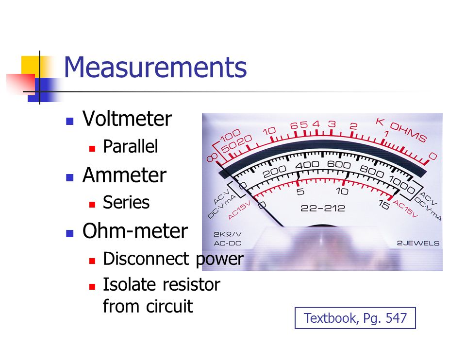 Voltmeter In Parallel : Electric circuits ppt video online download