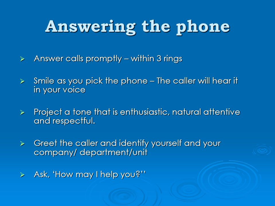Telephone etiquette ppt video online download answering the phone answer calls promptly within 3 rings m4hsunfo