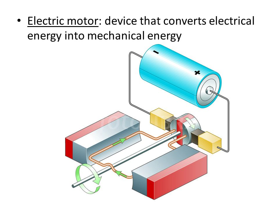 Electrical Mechanical Energy : An electric motor transforms potential energy into