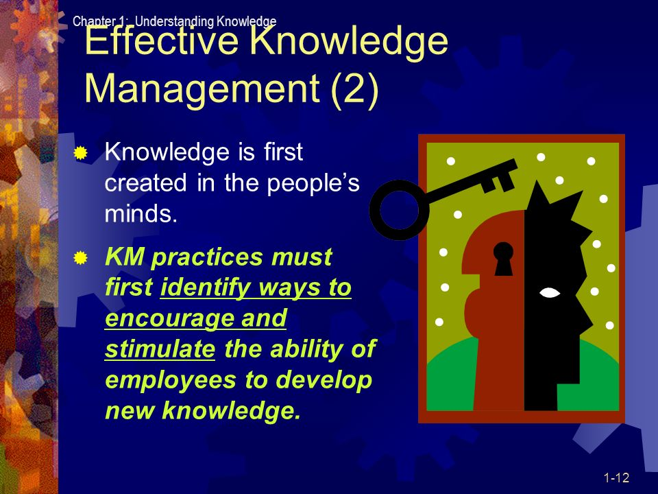 effective knowledge management Human resources and knowledge management in the contemporary business environment, the competitive position of companies among others is  new knowledge,enhanced by conducive organizational structures and culture and supported by effective knowledge management systems (pilbeam and corbridge, 2006, 340.