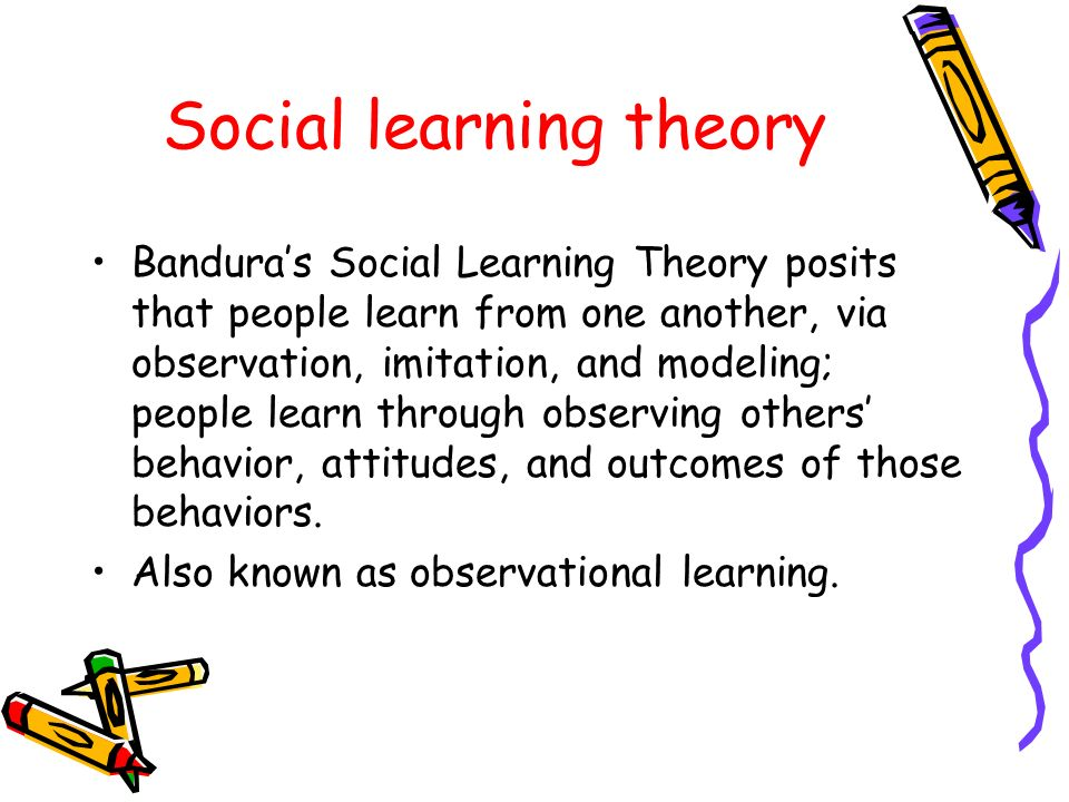 internalization and social learning theory young people essay Bandura's social learning theory suggests that people can learn though observation, including direct instruction, modeling, and imitation.