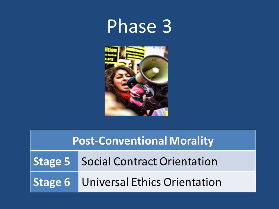 conventional morality Morality children tend to be at this stage stage 1: do the right thing to avoid  punishment stage 2: do the right thing to further self interests conventional.