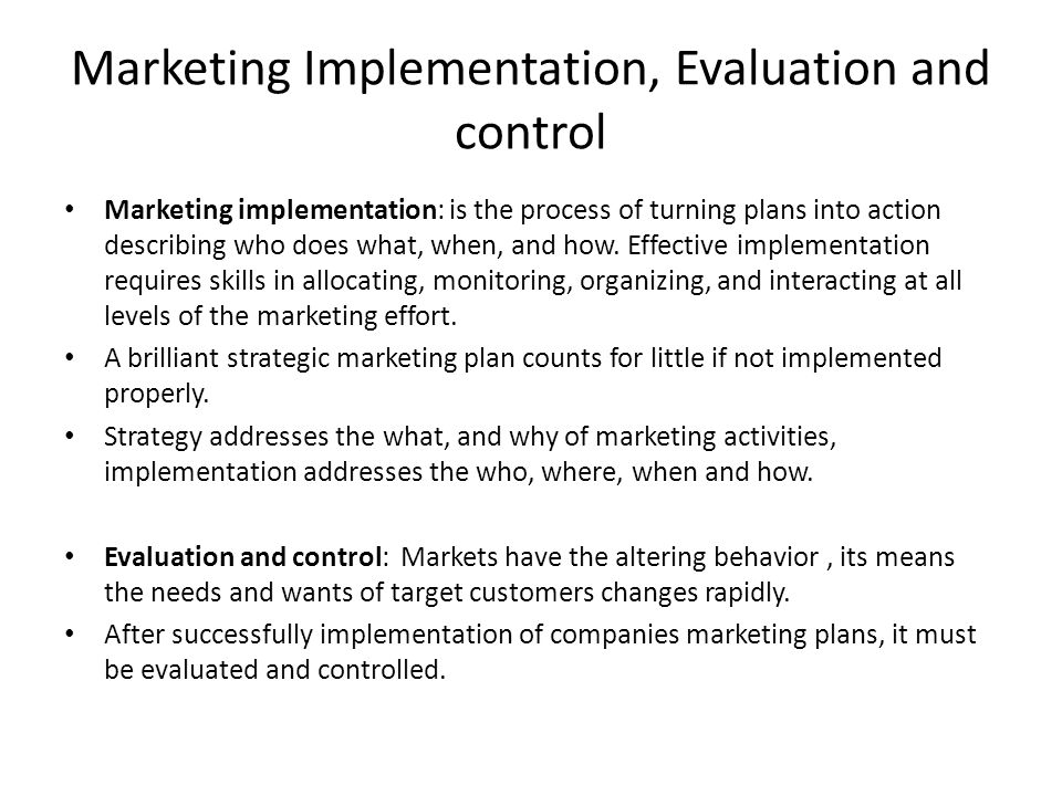 Impement and monitor marketing activities essay