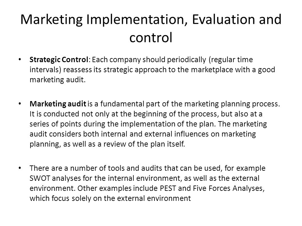 marketing plan and control Learning about your customers and offering products and services which meet their needs is an essential aspect of marketing skip to main content.