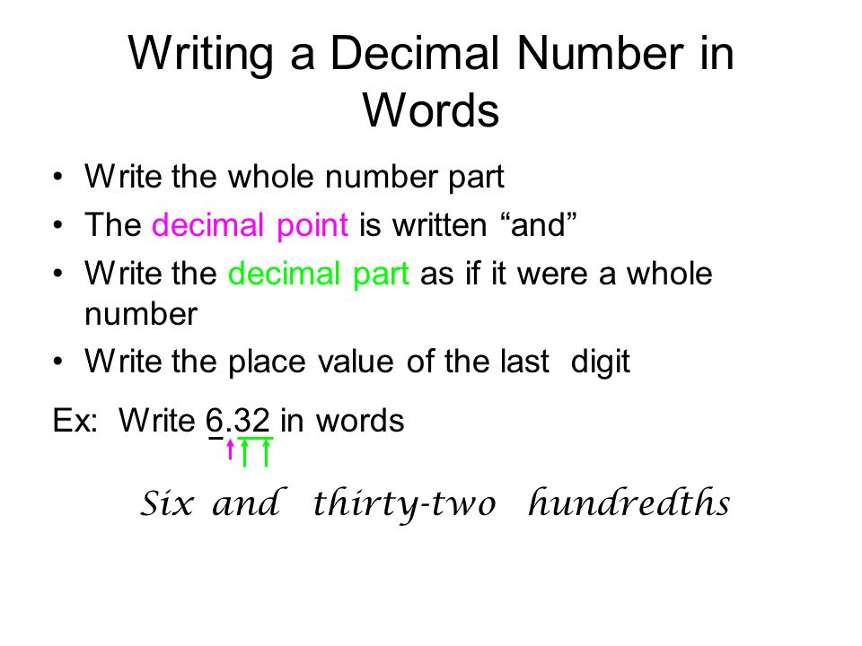 writing decimals Numbers with one decimal digit - tenths this is a complete lesson with instruction and exercises about numbers with one decimal digit (tenths), meant for fourth grade to illustrate these decimals, we divide each whole-number interval on a number line into 10 parts.