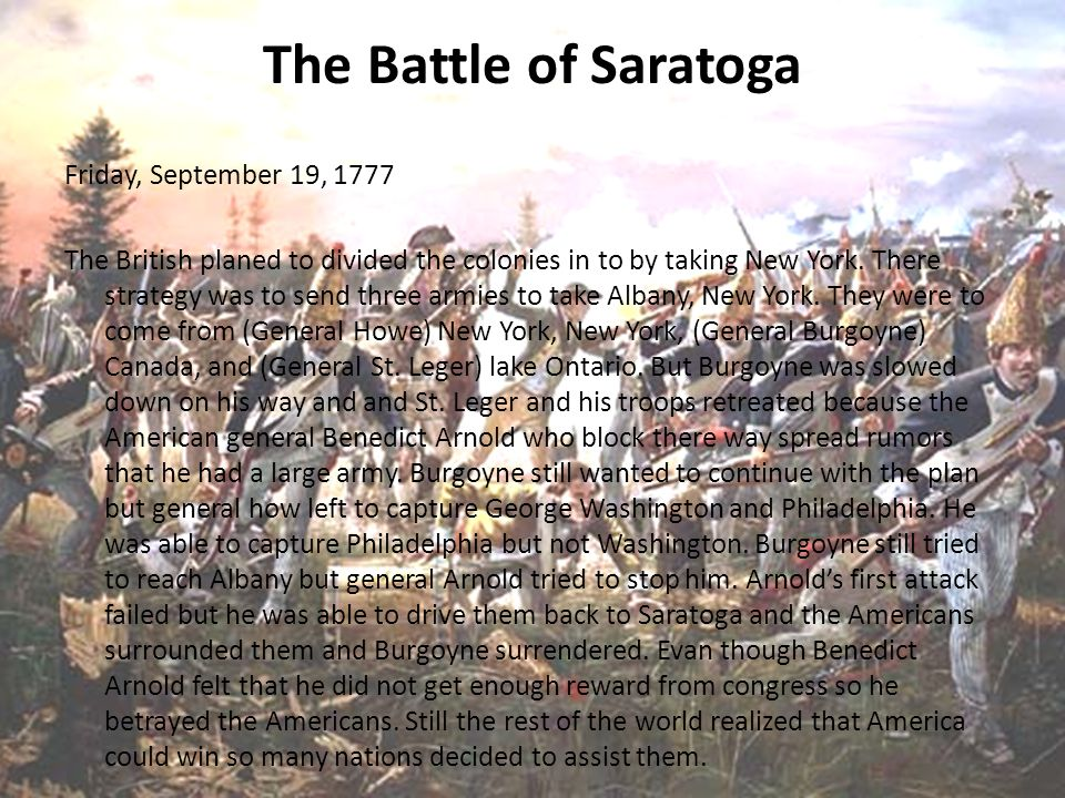 the battle of saratoga Find great deals on ebay for battle of saratoga and battle of bennington shop with confidence.