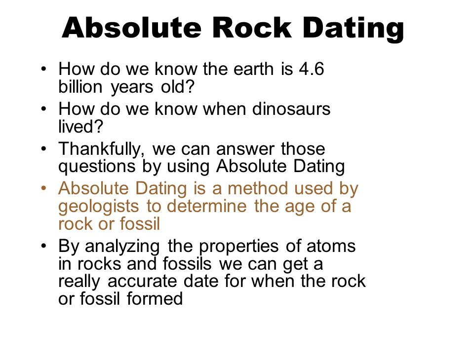How do you determine the absolute dating of rocks and fossils