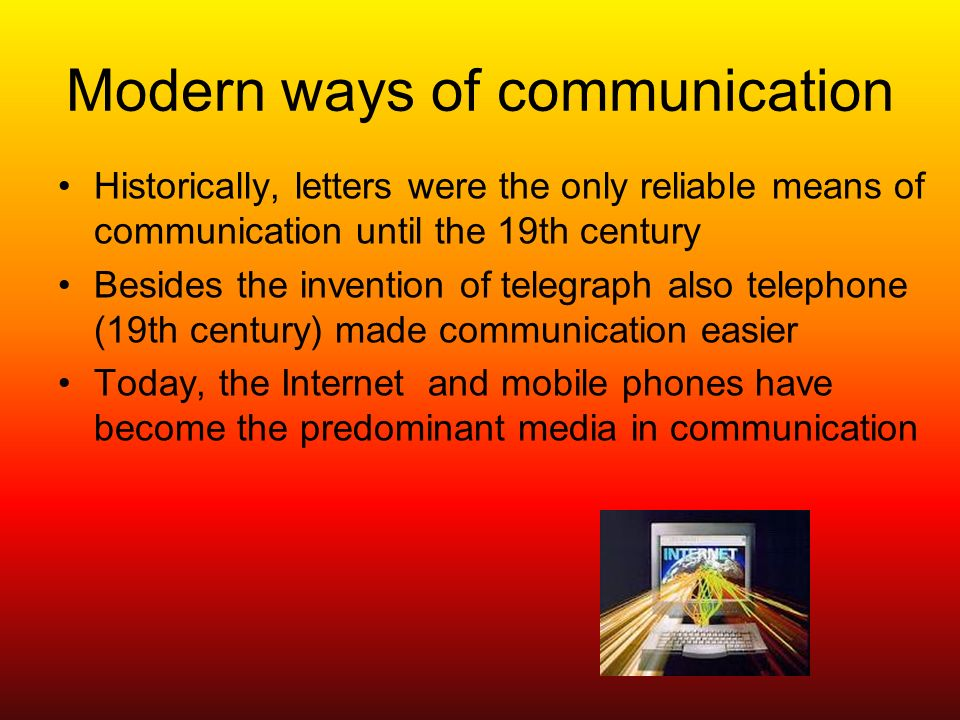 essay on internet and ways of communication through it Compare & contrast essay about technologies essaysemail, cell phones, internet, television, pagers and also by ways of communication.