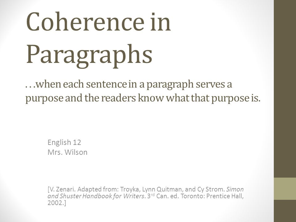 what is the purpose of each sentence in a pargraph