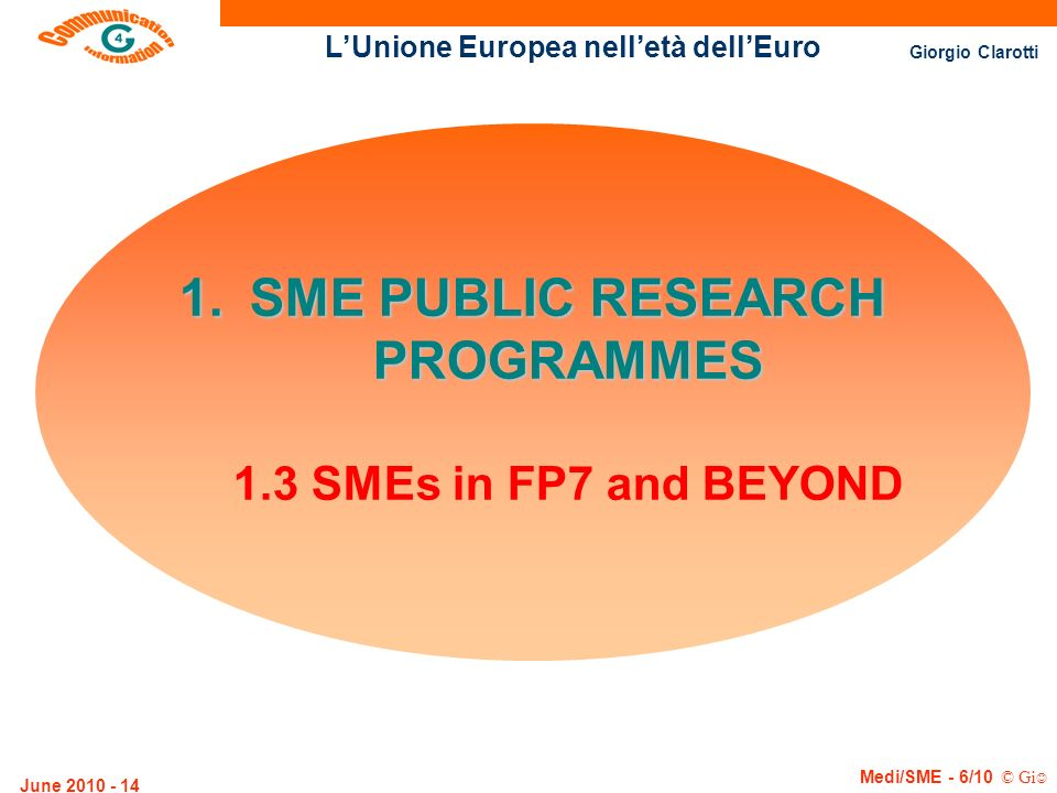 SME PUBLIC RESEARCH PROGRAMMES 1.3 SMEs in FP7 and BEYOND