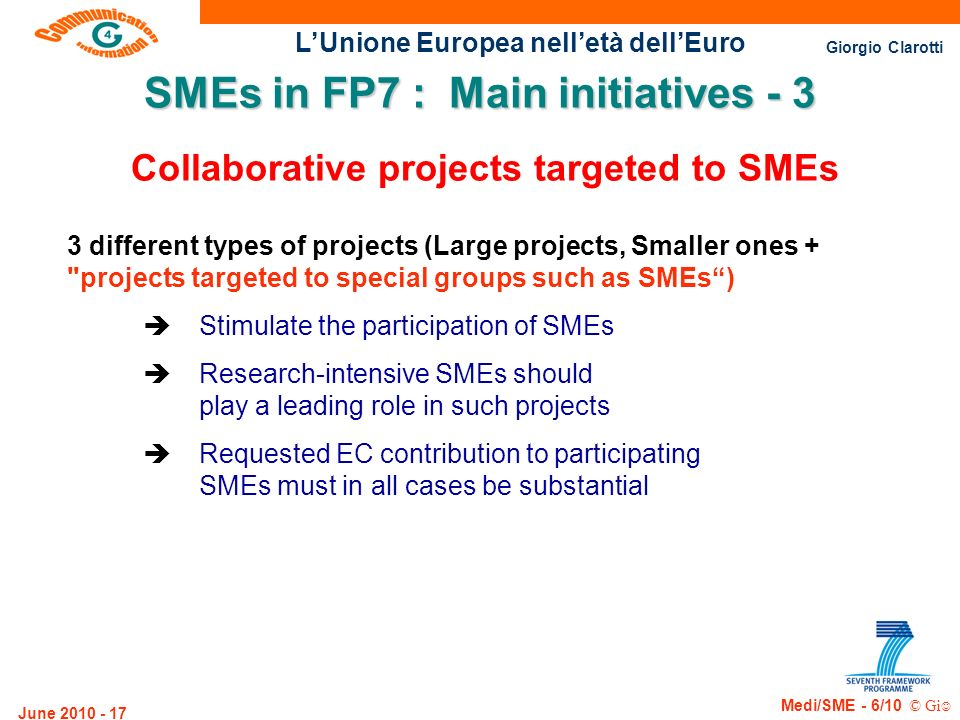 SMEs in FP7 : Main initiatives - 3