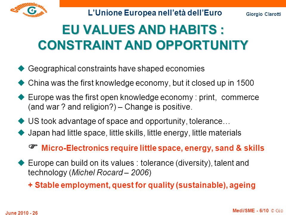 EU VALUES AND HABITS : CONSTRAINT AND OPPORTUNITY