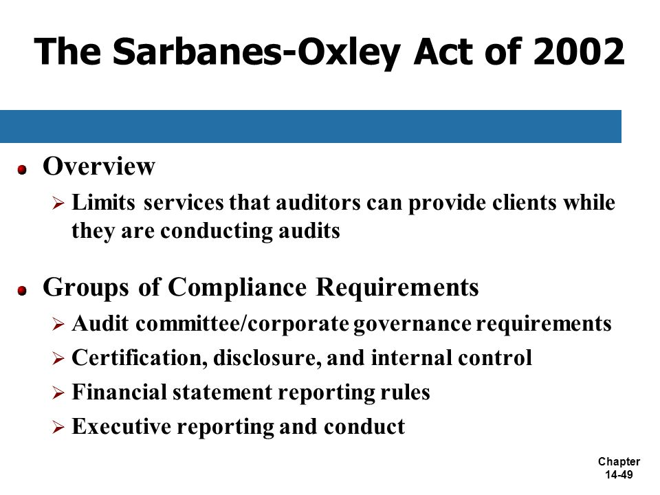 sarbanes oxley act of 2002 a Legal definition of sarbanes-oxley act of 2002: passed in response to several massive corporate fraud scandals the thrust of the act was to prevent fraudulent corporate accounting practices the act increased the requirements for financial disclosure by corporations.