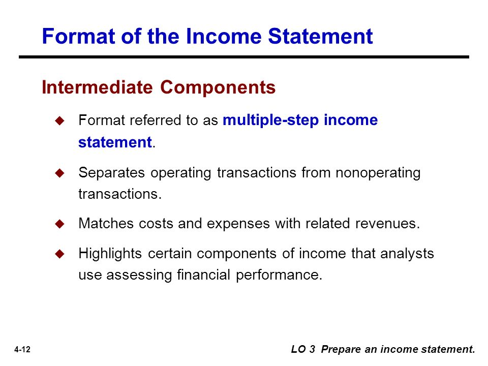 Format Of The Income Statement. 13 Intermediate Components  Components Of Income Statement