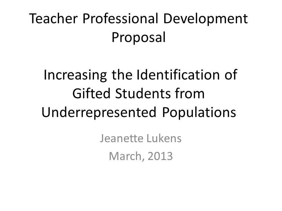 Teacher Professional Development Proposal Increasing The